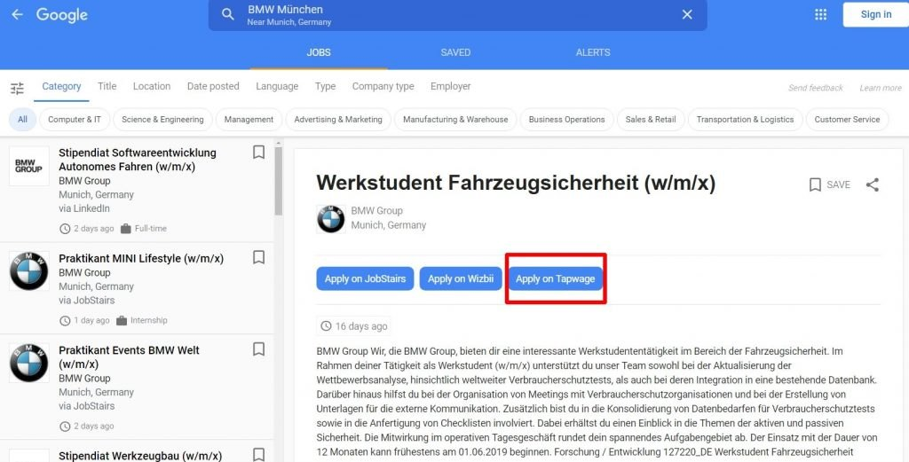 Screenshot Google for Jobs-Suche Werkstudent BMW